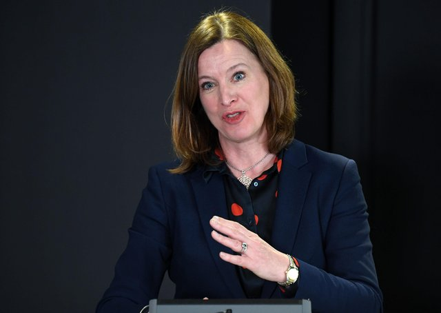 Scottish chief medical officer Catherine Calderwood holding a briefing in Edinburgh today on the coronavirus outbreak spreading across the country. (Photo by Andy Buchanan/Pool/AFP via Getty Images)
