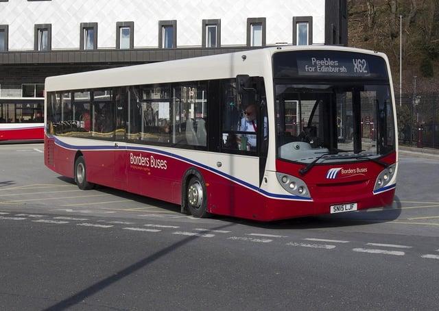 An X62 bus for Edinburgh via Peebles at Galashiels transport interchange.
