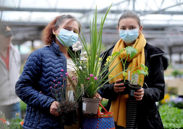 Shoppers at a garden centre in Blackpool in Lancashire reopened today.
