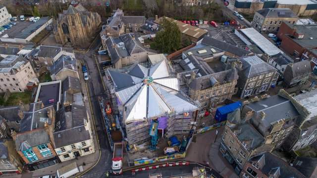 An aerial view of the Great Tapestry of Scotland visitor centre being built in Galashiels.