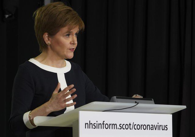 Scottish first minister Nicola Sturgeon announcing the start of preparations to relax the current Covid-19 lockdown at a briefing in Edinburgh today, April 23.