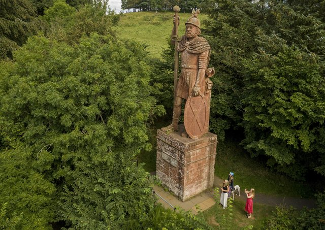 A drone photo of the William Wallace statue at Scott's View. Photo: Katielee Arrowsmith/SWNS