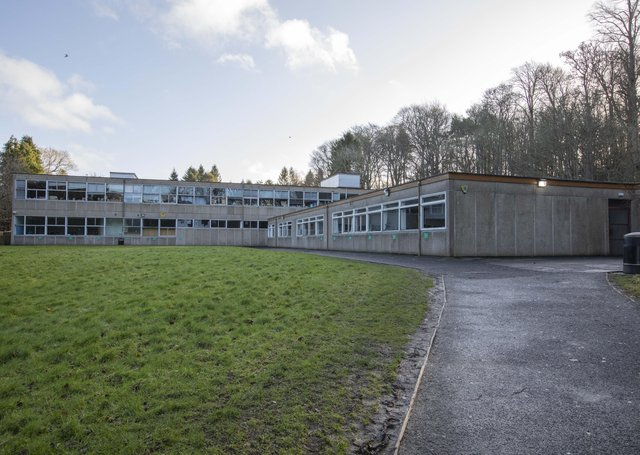Galashiels Academy's extension building, which is due to be demolished this summer.