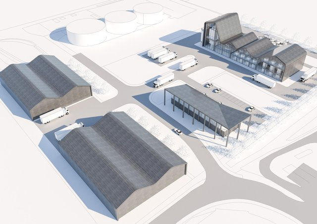 How a whisky distillery being planned at Charlesfield industrial estate in St Boswells would look.