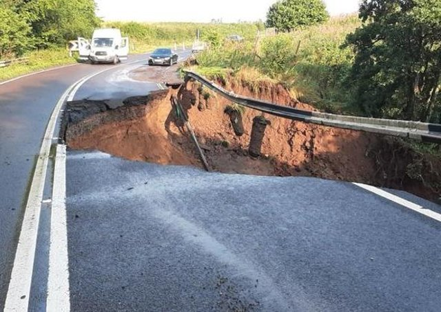 A huge collapse on the A68 near Fala following last night's heavy thunderstorms. A detour is in place.