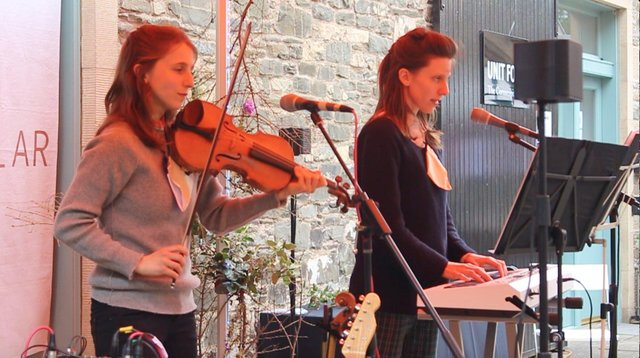 Charlotte and Heather Sterland perform in Hawick on Saturday.