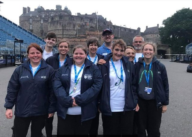 Riddles Fiddles members at Edinburgh Castle for the Tattoo.