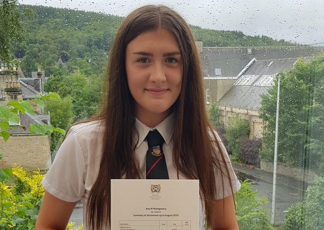 Galashiels Academy S4 pupil Amy Montgomery with her SQA results.
