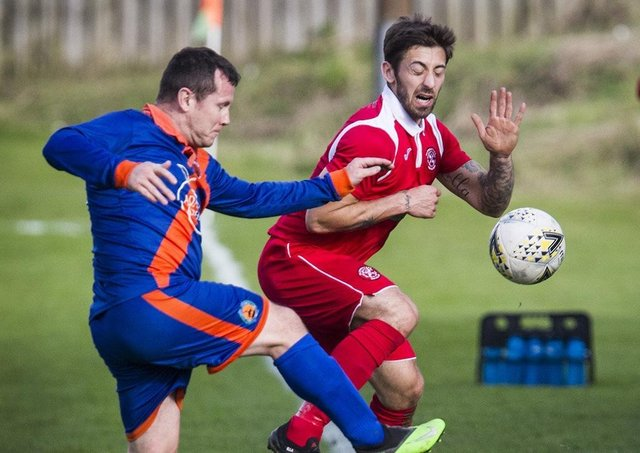 Kevin Strathdee of Hawick Royal Albert United, left, in action against Glenrothes (archive picture by Bill McBurnie)