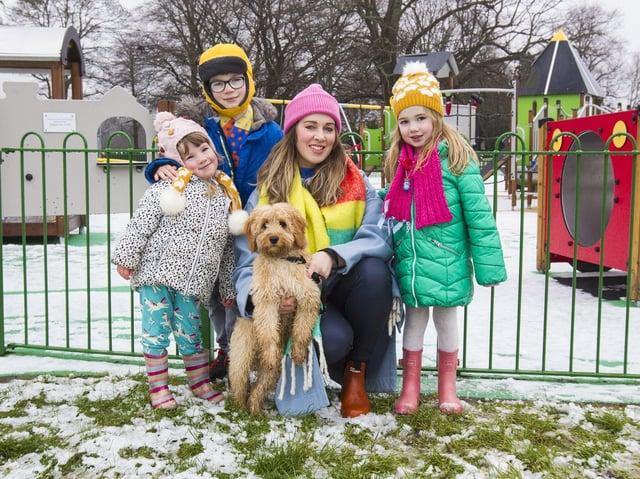 Mum Lauren Jamieson, with Nell, Mac and Quinn. (PHOTO: BILL McBURNIE)