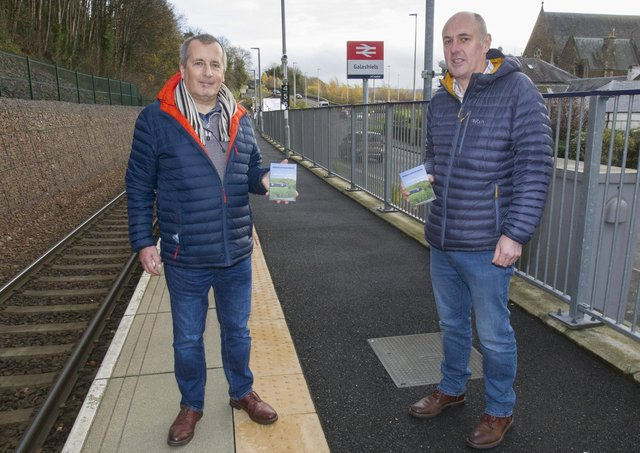 Forbes Shepherd and Brian Gould at Galashiels Railway Station.