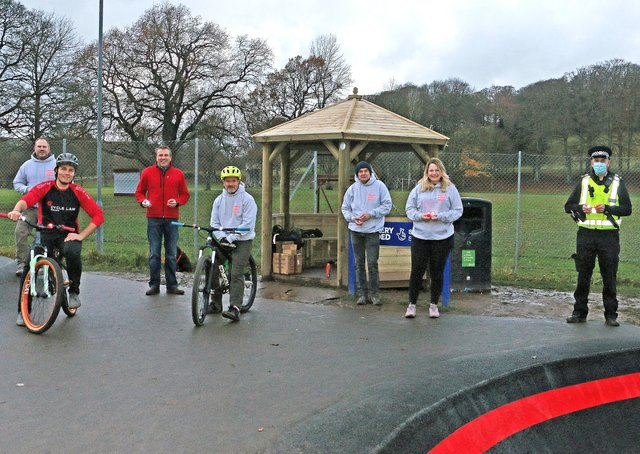 Free lights are being handed out to Hawick kids so they can ride more safely to and from the town's new cycle track. Photo: Frederick Thomson.