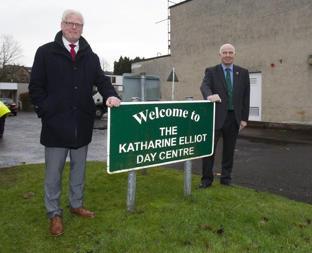 Councillors Stuart Marshall and Watson McAteer at Hawick's Katharine Elliot Day care centre. (PHOTO: BILL McBURNIE)