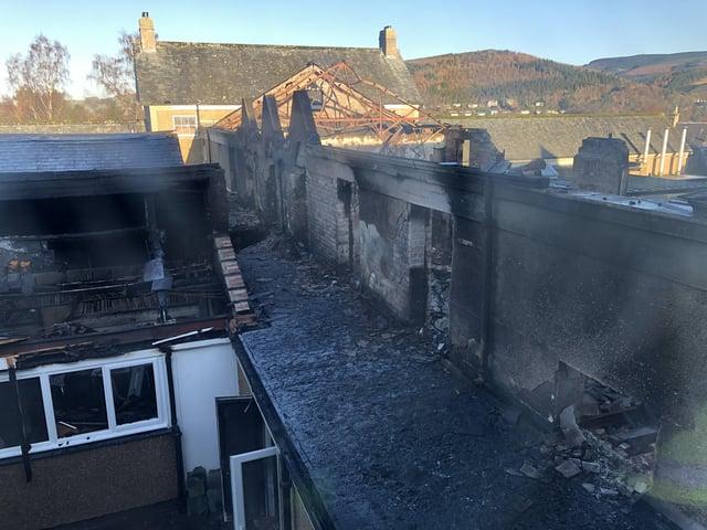 Fire-ravaged Peebles High School.