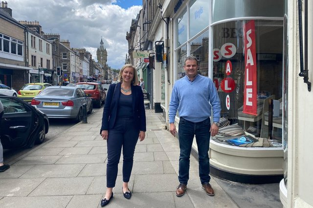 Rachael Hamilton MSP and Andrew Dobbie of Dobbie and Michie in Hawick's High Street.