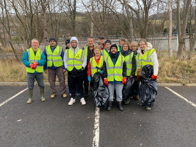 Volunteers at a river clean in Galashiels last March.