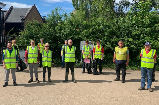 The volunteers get ready for their litter pick.