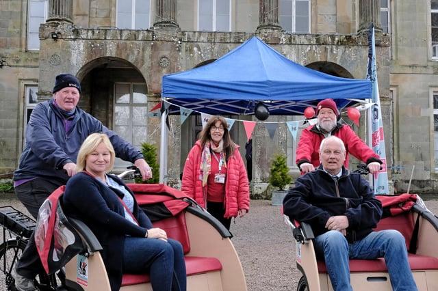 From left, Graham Easton, councillor Caroline Cochrane,  Christine Bell CEO Cycling Without Age Scotland, Jim McPherson, and councillor Gordon Edgar. Photo: Rob Gray.