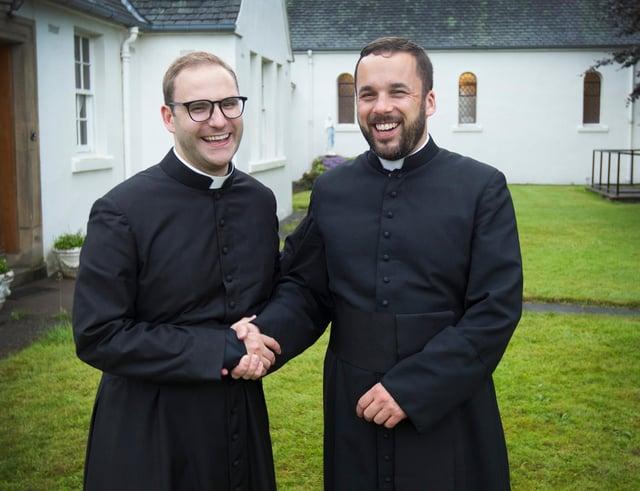 Father Martin Eckersley, Jedburgh, and Father Bobby Taylor, Galashiels, at Jedburgh's St Mary's Catholic Church. (Photo: BILL McBURNIE)