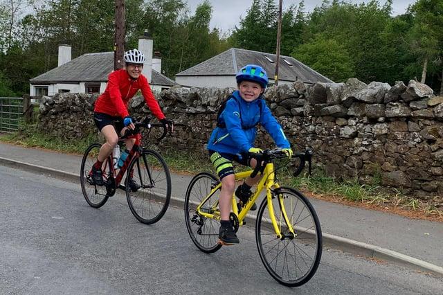 Seven-year-old Finlay Gibbs with family pal Amanda McGibbon.