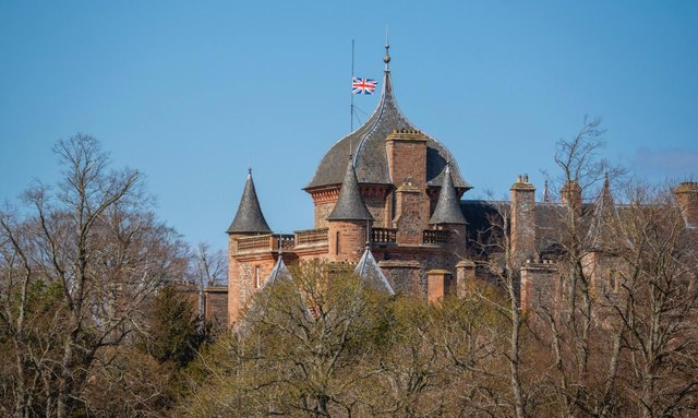 Thirlestane Castle, where the Queen and Prince Philip stayed during their visits to the Borders, flies at half staff this afternoon. Photo: Phil Wilkinson.