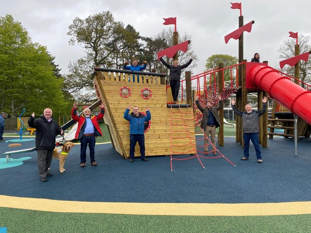 Councillors, from left, David Parker, Stuart Bell, Eric Small, Heather Anderson, Shona Haslam, Kris Chapman and Robin Tatler at the new playpark in Peebles' Victoria Park.