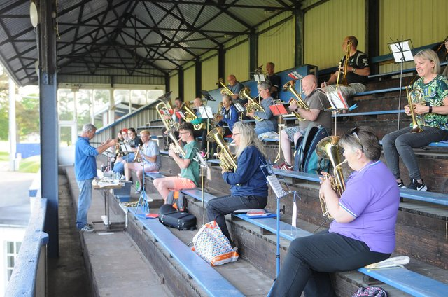 Selkirk Silver Band rehearse at Philiphaugh. Photo: Grant Kinghorn.