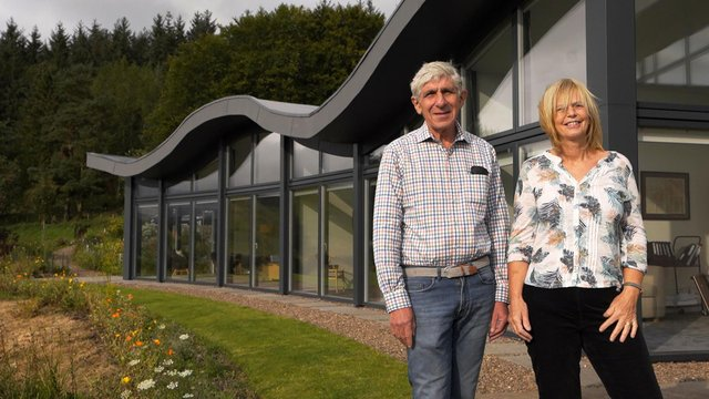 Stephen and Alison, the owners of the Wave, a distinctive newbuild near Peebles, which failed to make it into the final.