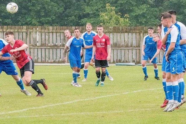 Gala Fairydean Rovers and Coldstream players competing for the ball on Saturday (Photo: Corine Briggs)