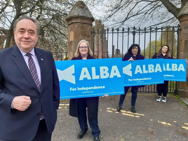 Former First Minister Alex Salmond with Alba candidates Cynthia Guthrie, Corri Wilson and Suzanne Blackley at Melrose Abbey.