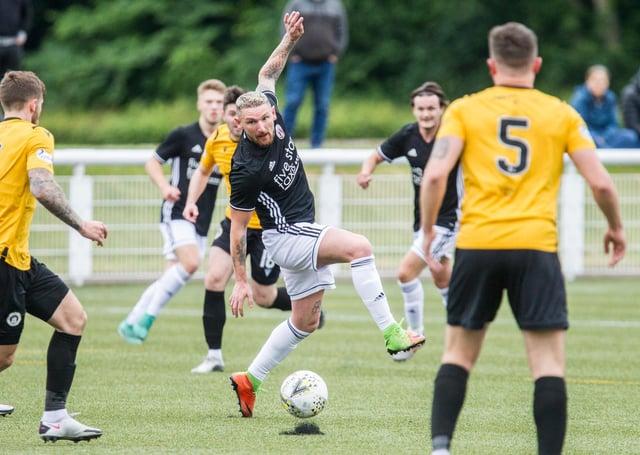 Martin Scott, alias Jimmy, on the ball for Gala Fairydean Rovers against Edinburgh City on Saturday (Photo: Bill McBurnie)