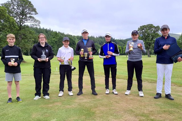The Torwoodlee juniors - from left, Lewis Gillie, Olivia O'leary, Greg Anderson, Thomas Chandler, Cameron Brydon, Lyle Gillie and Kyle Anderson.