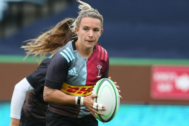 Jedburgh's Chloe Rollie playing for Harlequins Women against Durham Sharks at Twickenham Stoop in London last October (Photo by Steve Bardens/Getty Images for Harlequins)