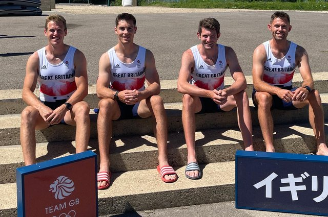 Harry Leask, left, formerly of Heriot, is in the Team GB rowing squad for the 2021 Olympics in Tokyo. His teammates are Angus Groom, Thomas Barras and Jack Beaumont