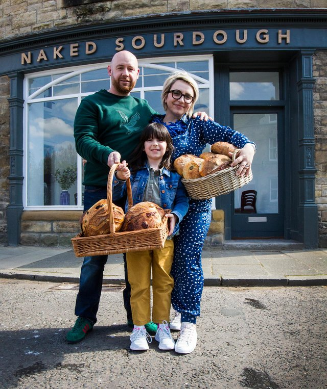 Kevin, Cristina and Mhairi Wood have just opened the Naked Sourdough Bakery in Jedburgh. (Photo:BILL McBURNIE)