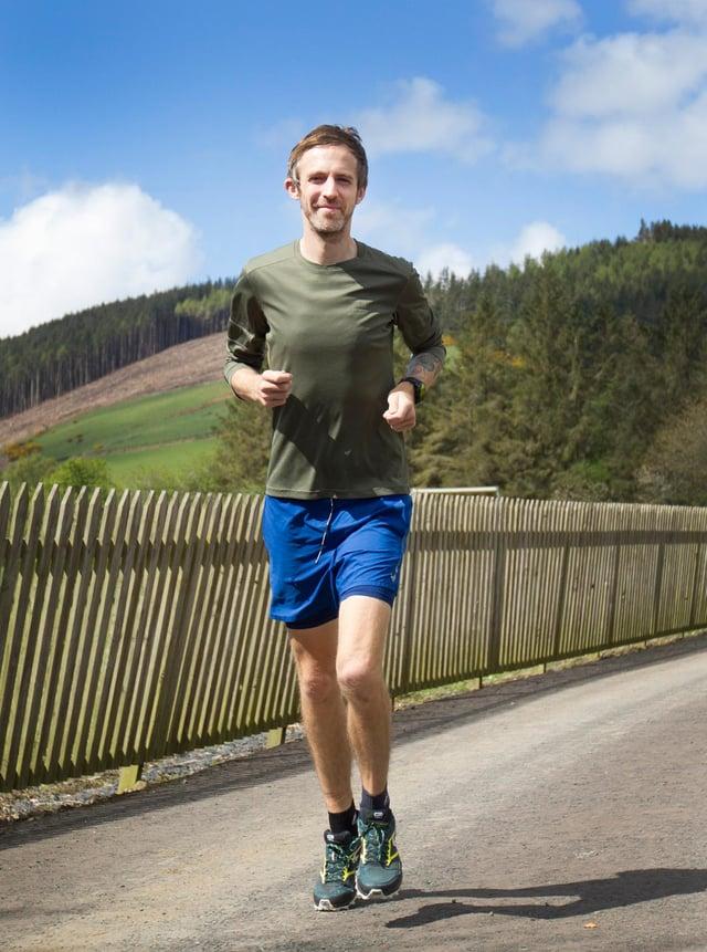 Ryan Small in Galashiels training for his 24 hour run at Meigle Hill. (Photo: BILL McBURNIE)