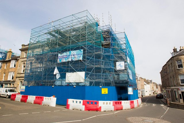 Jedburgh scaffolding. Photo: BILL McBURNIE.