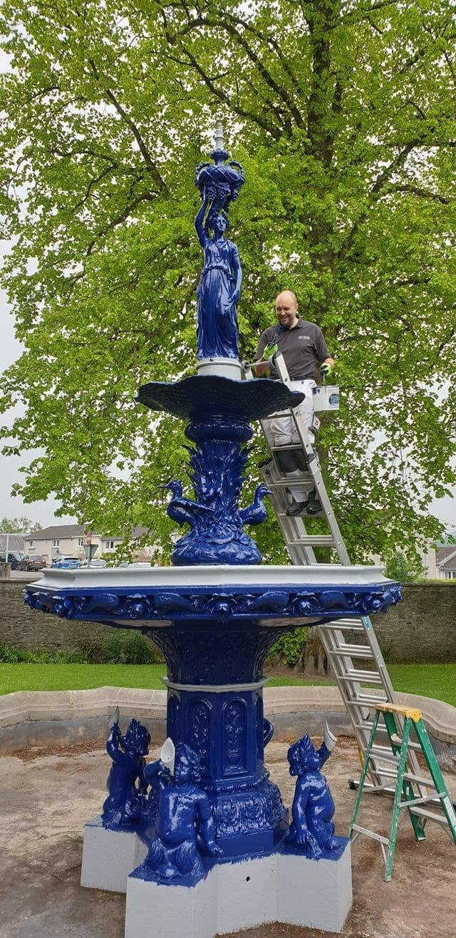 Selkirk's fountain is now a shade of true blue.