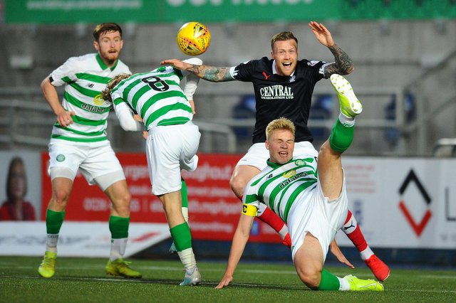 A Celtic colts' side playing against League One's Falkirk, two tiers above Gala Fairydean Rovers and Vale of Leithen, in August 2019 (Photo: Michael Gillen)