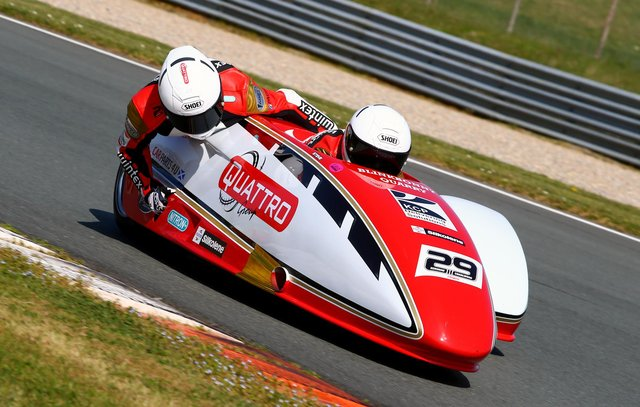 Steve Kershaw and Ryan Charlwood in their vehicles new red and white livery