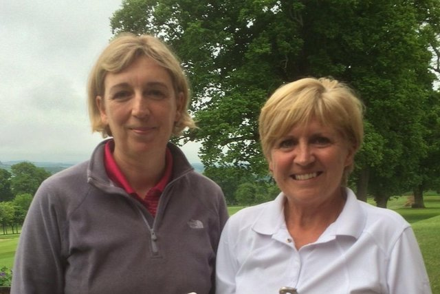 Alison Rutherford, right, with clubmate Diane Cassidy, who defeated her in last weekend's Ladies Championship final at Selkirk.