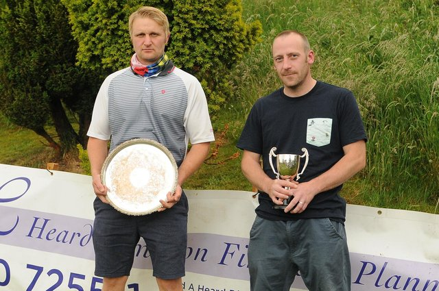 Champion golfer Michael McVie, left, with runner-up Stephen Henderson at Selkirk (picture by Grant Kinghorn)
