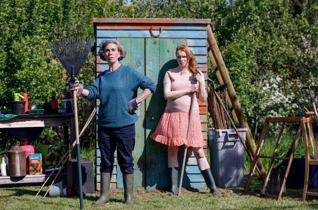 Sisters Dora and Maddy put the world to rights in 'Allotment'.