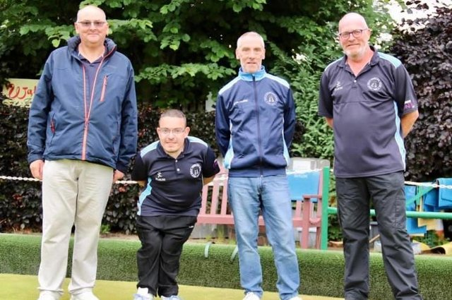 Rinks and Pairs contest winners at Gala Bowling Club - Paul Porter, Danny Porter, Steven Graham and Steve Currie