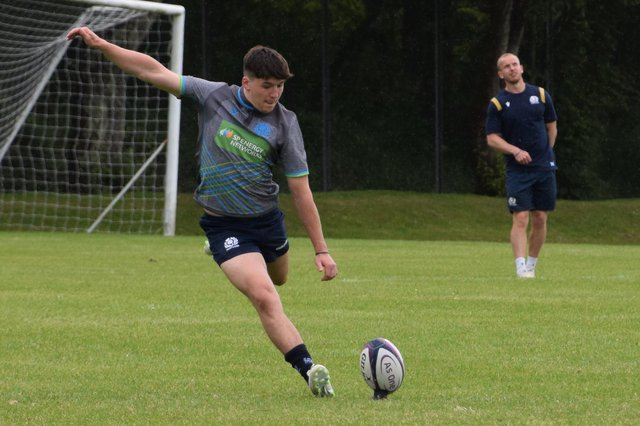 Borders player Cammy Scott, the only Scottish name to make the scoresheet last week against Italy, is dropped for today's U20 Six Nations rugby match against France. in the background is assistant defence coach Ciaran Beattie of Selkirk (picture by Scottish Rugby).
