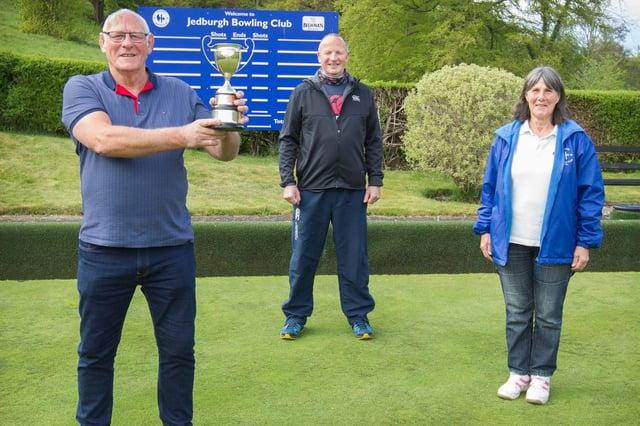 Starrett Cup Winners at Jedburgh Bowling Club - Robbie Lindores, Neil Haig and  Babs Hogg
