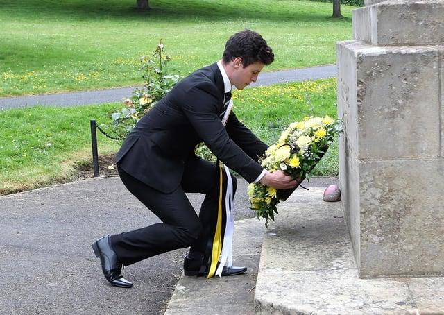 Melrosian Elect, Douglas Crawford, lays the wreath at the war memorial.
