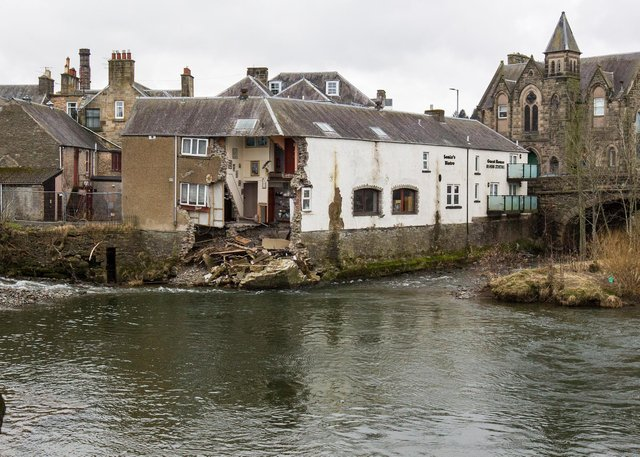 The Bridge House Guest House and Sonia's Bistro in Hawick has been idol for over a year after it was damaged by Storm Ciara. Picture by Bill McBurnie.