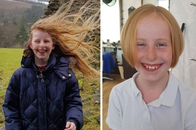 Isabelle Mack, before and after her charity crop.