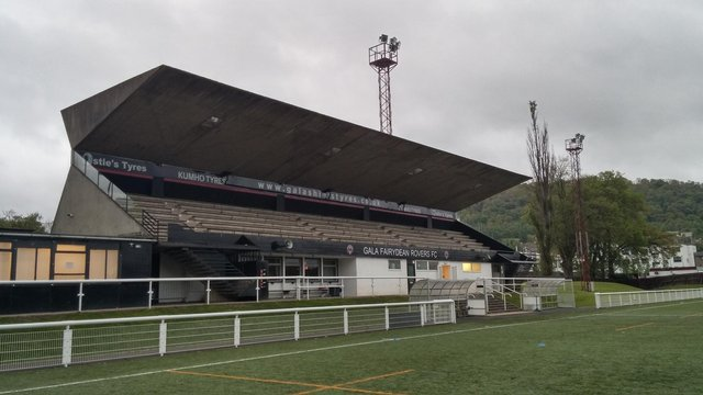 Gala Fairydean Rovers' main stand at their Netherdale ground (Photo: Scottish Borders Council)